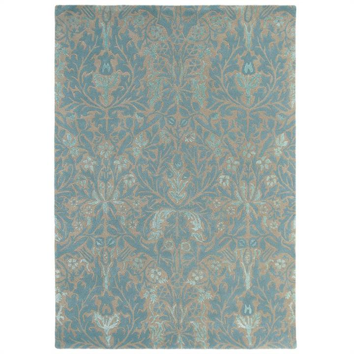 Morris  Co Autumn Flowers Hand Tufted Designer Wool Rug, 280x200cm, Eggshell