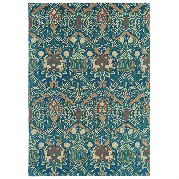 Morris  Co Granada Hand Tufted Designer Wool Rug, 280x200cm, Indigo / Red