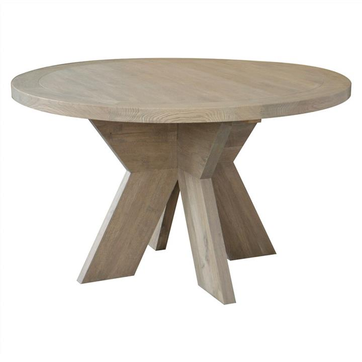 Alvilda Solid Oak Timber Round Dining Table, 130cm, Weathered Oak