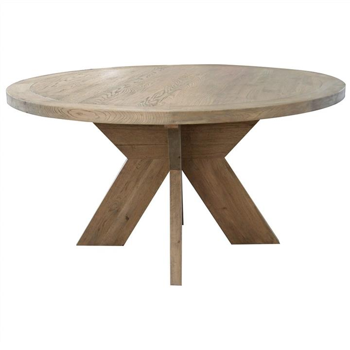 Alvilda Solid Oak Timber Round Dining Table, 150cm, Weathered Oak