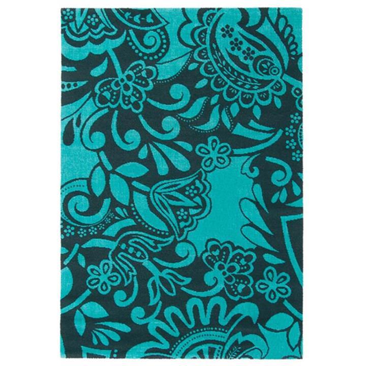 Brink and Campman Fusion Joy Wool Rug, 230x160cm, Black/Teal