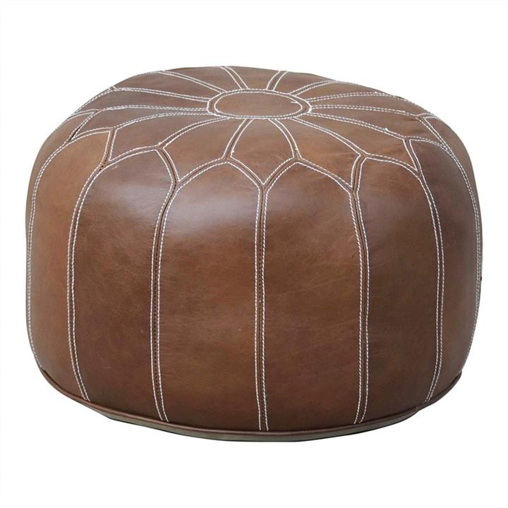 Anzal Leather Morroccan Pouffe, Tan