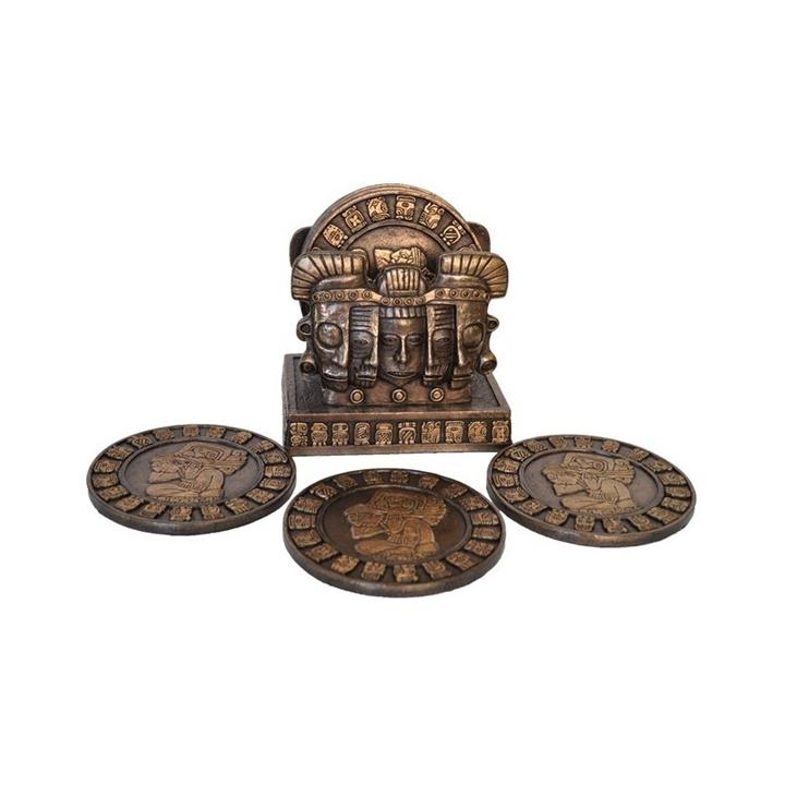 Veronese Cold Cast Bronze Coated 6 Piece Mayan Coaster Set