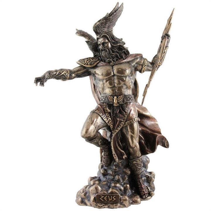 Veronese Cold Cast Bronze Coated Greek Mythology Figurine, Zeus Holding Thunderbolt