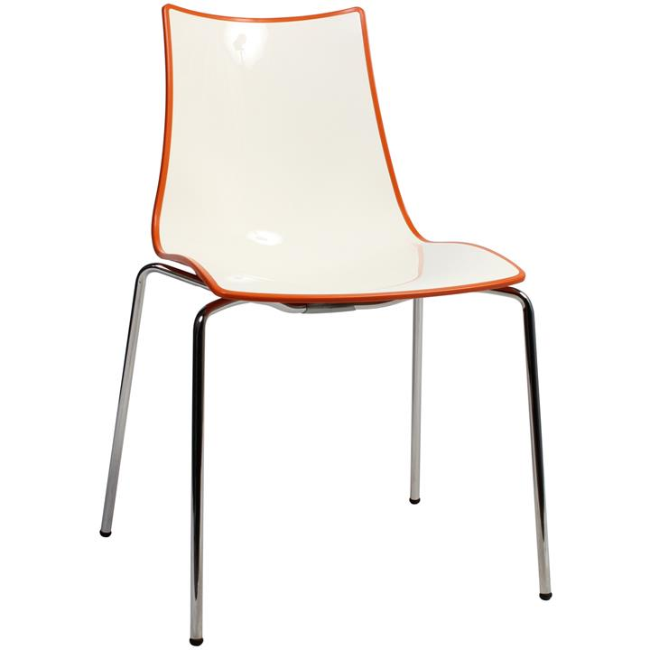 Zebra Bicolore Italian Made Commercial Grade Dining Chair, Metal Leg, Orange / Chrome