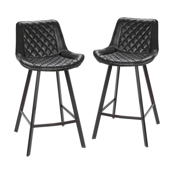Bordeaux Commercial Grade Faux Leather Counter Stool, Black