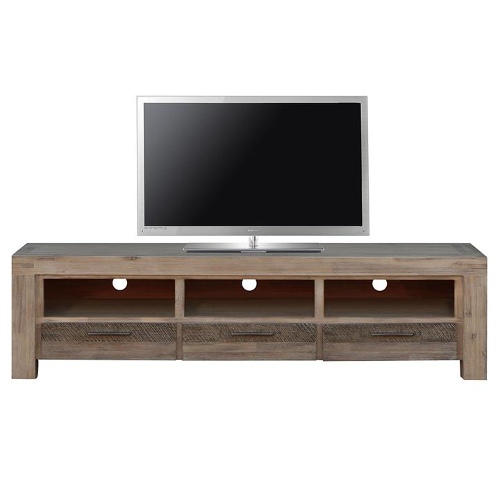 Albergo Acacia Timber 3 Drawer TV Unit, 200cm