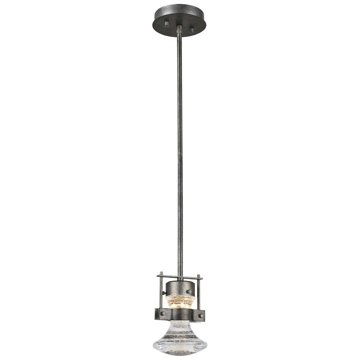 Elko Steel  Crystal Glass LED Pendent Light, Small