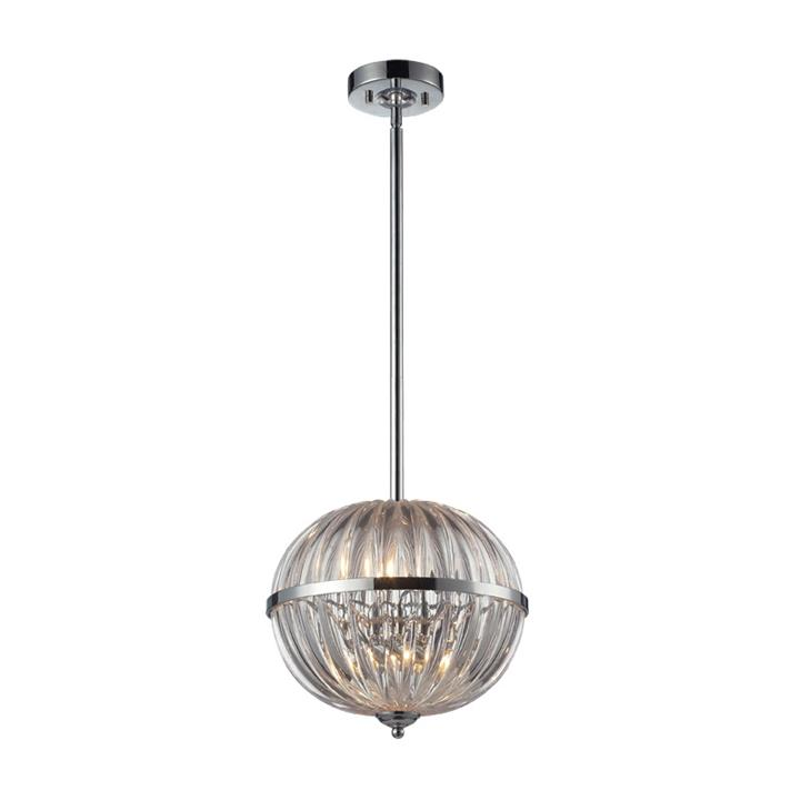 Nina Hand Blown Glass Pendant Light, Round