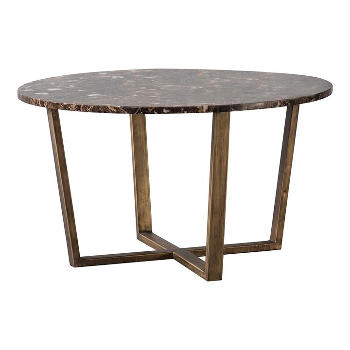 Chan Marble Top Round Coffee Table, 80cm, Brown / Brass