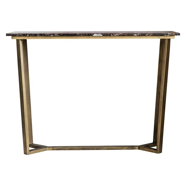 Chan Marble Top Console Table, 110cm, Brown / Brass