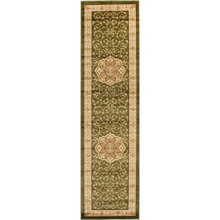Istanbul Medallion Turkish Made Oriental Runner Rug, 300x80cm, Green