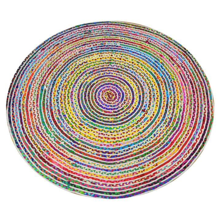 Gola Handwoven Cotton Round Chindi Rug, 150cm