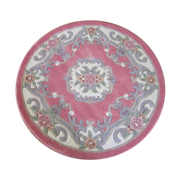 Avalon French Aubusson Round Wool Rug, 120cm, Pink