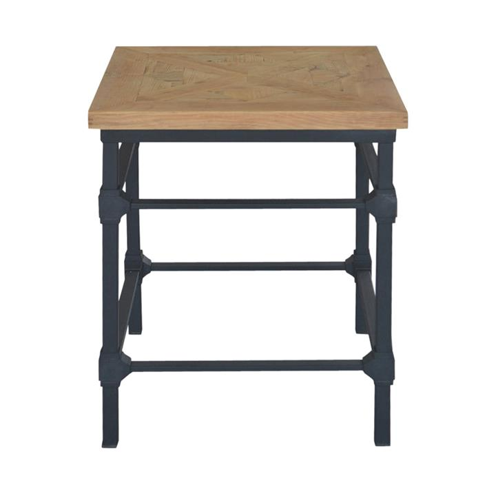 Allan Parquet Timber Top Iron Side Table