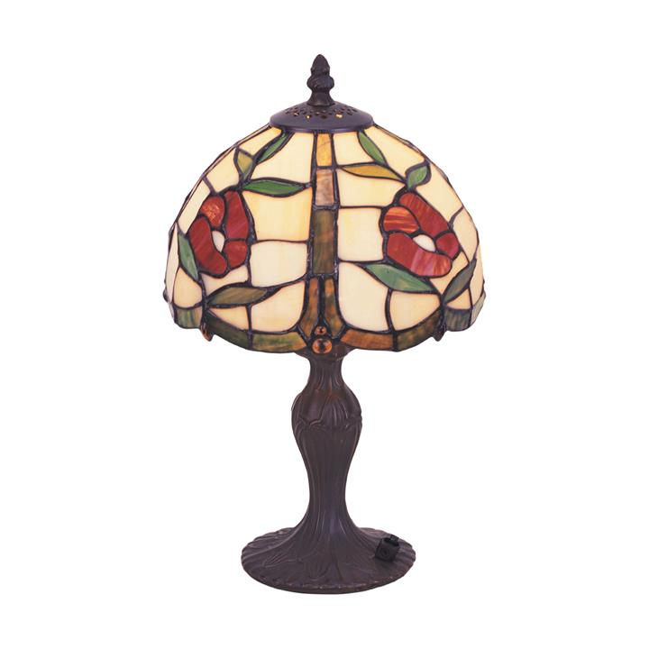 Rosa Tiffany Style Stained Glass Table Lamp, Extra Small