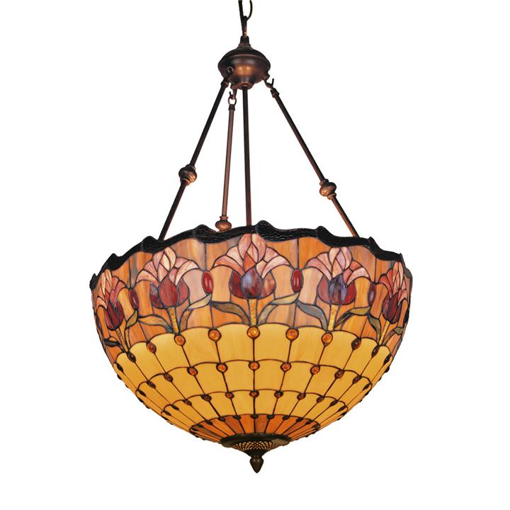 Red Tulip Tiffany Style Stained Glass Pendant Light
