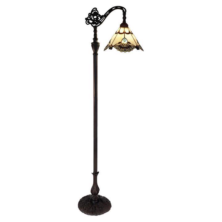Benita Tiffany Style Stained Glass Edwardian Floor Lamp, Beige
