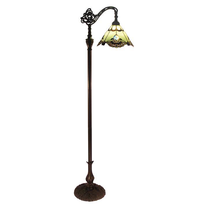 Benita Tiffany Style Stained Glass Edwardian Floor Lamp, Jade