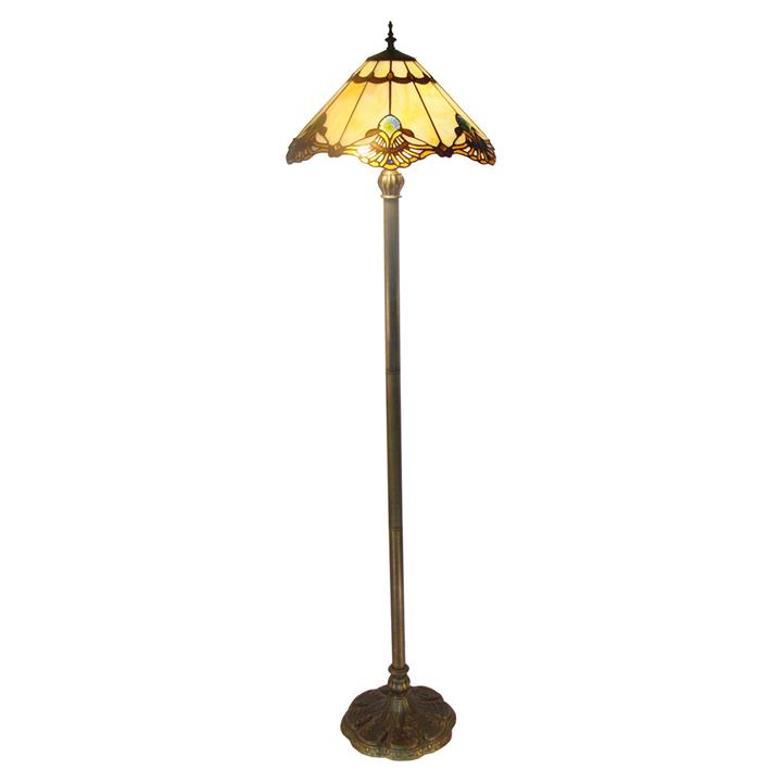 Benita Tiffany Style Stained Glass Floor Lamp, Beige
