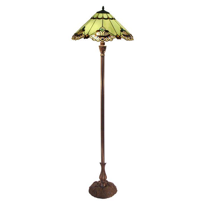 Benita Tiffany Style Stained Glass Floor Lamp, Jade