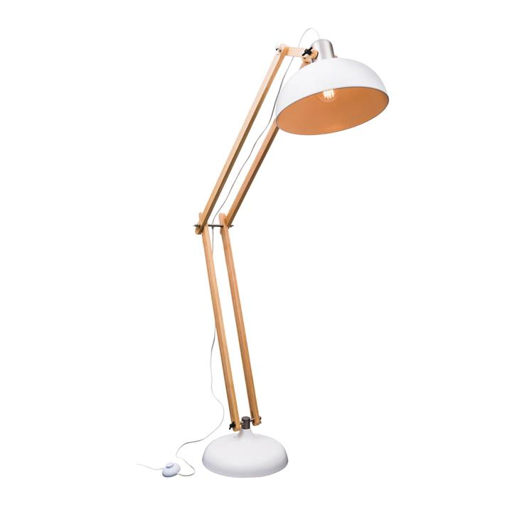 Alfred Timber & Metal Adjustable Floor Lamp, White