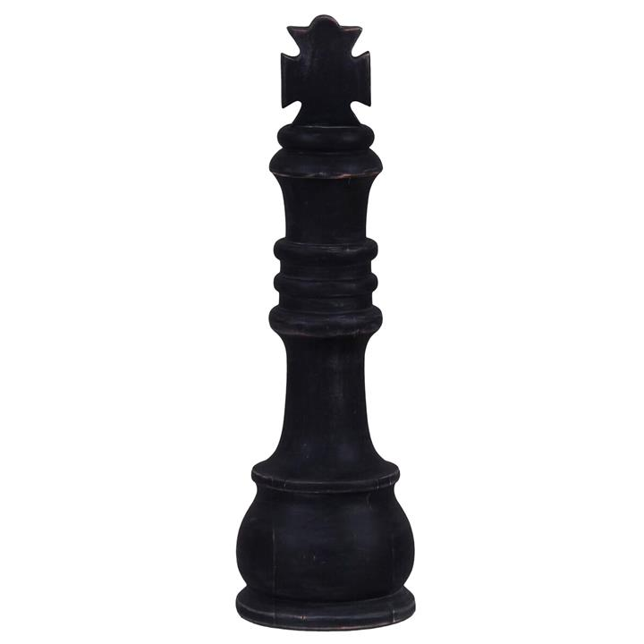 Alicia Mahogany Timber Chess Piece Ornament, King, Distressed Black