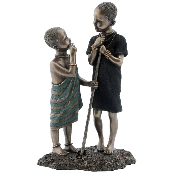 Veronese Cold Cast Bronze Coated African People Figurine, Jana Mtani, Young Friends
