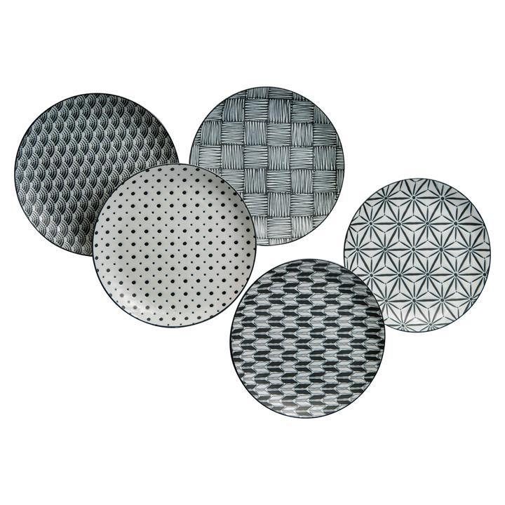 Komon 5 Piece Porcelain Lunch Plate Set