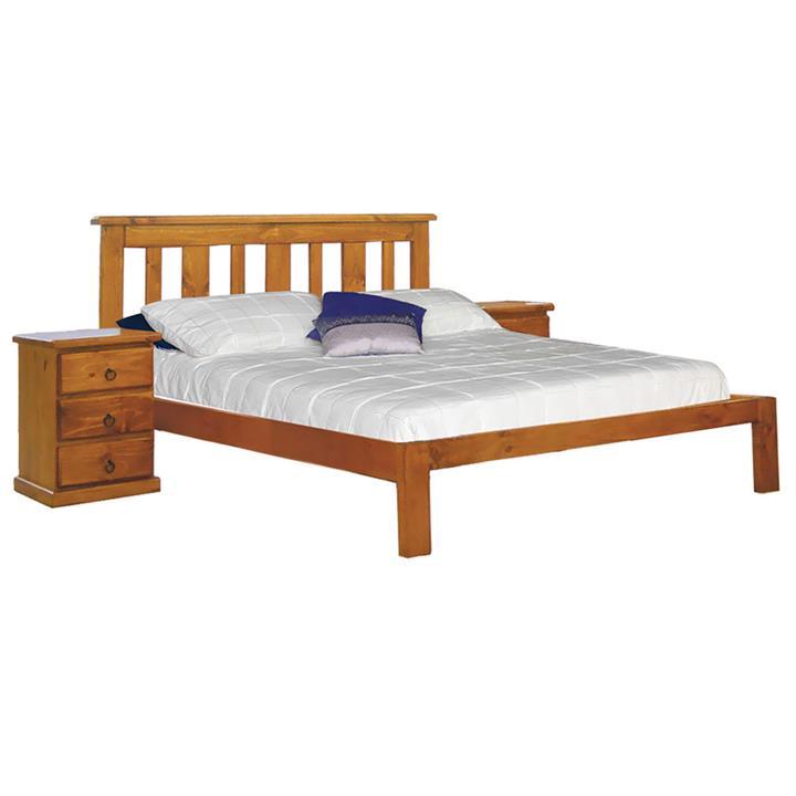Gina New Zealand Pine Timber Bed, Double, Blackwood