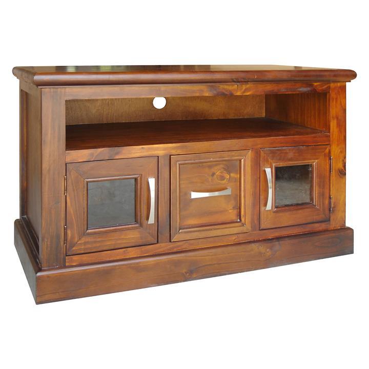 Cottage New Zealand Pine Timber 2 Door 1 Drawer TV Unit, 108cm