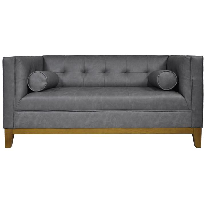 Calvin 2 Seater Faux Leather Sofa, Stormy Grey