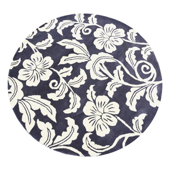 Botanical Floral Handmade Round Wool Rug, 150cm, Charcoal