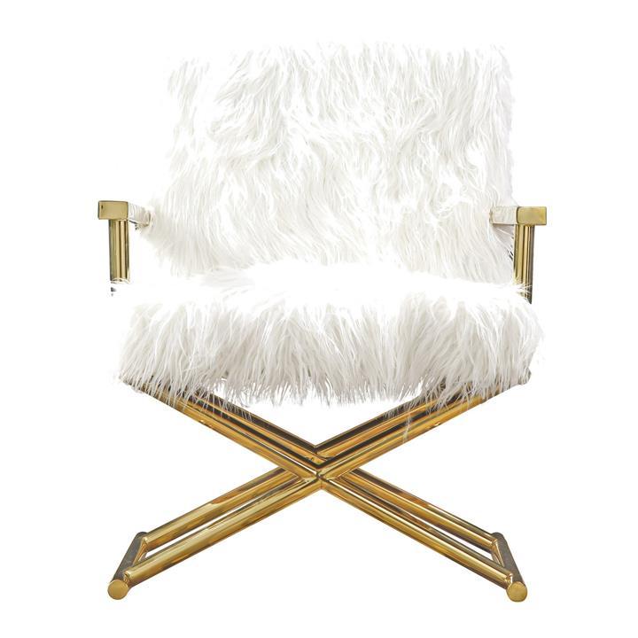 Camila Faux Fur Armchair, White / Gold