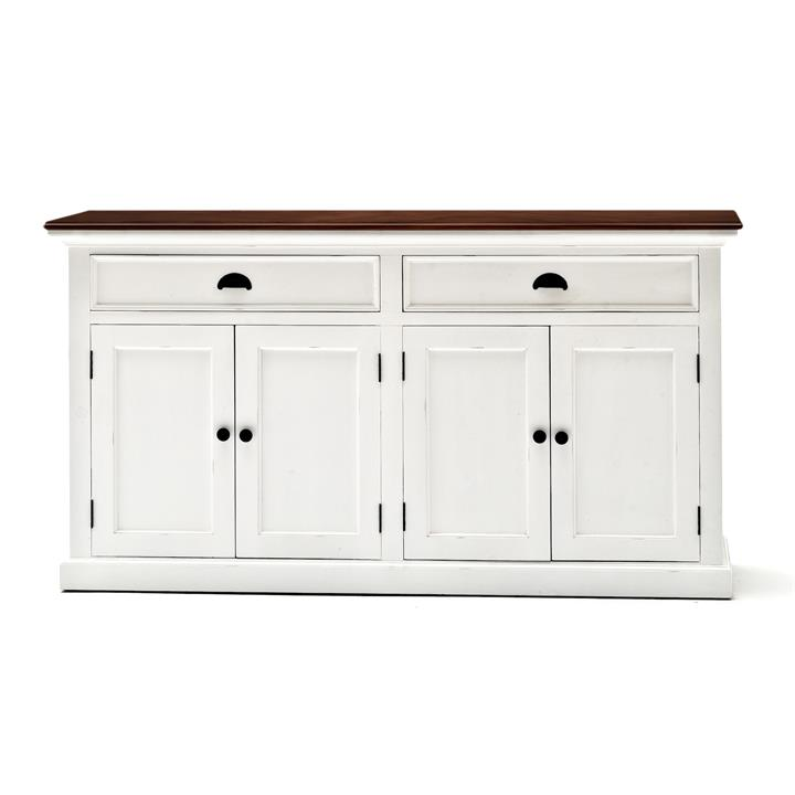 Halifax Contrast Mahogany Timber 4 Door 2 Drawer Buffet Table, 145cm, Brown / Distressed White