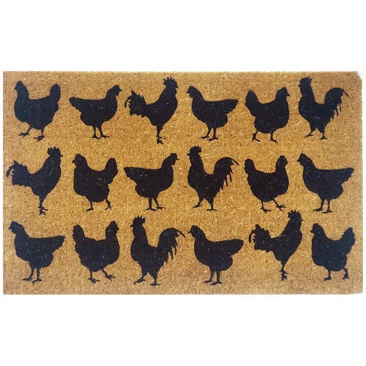 Hens & Roosters Silhouette Premium Handwoven Coir Doormat, 80x50cm