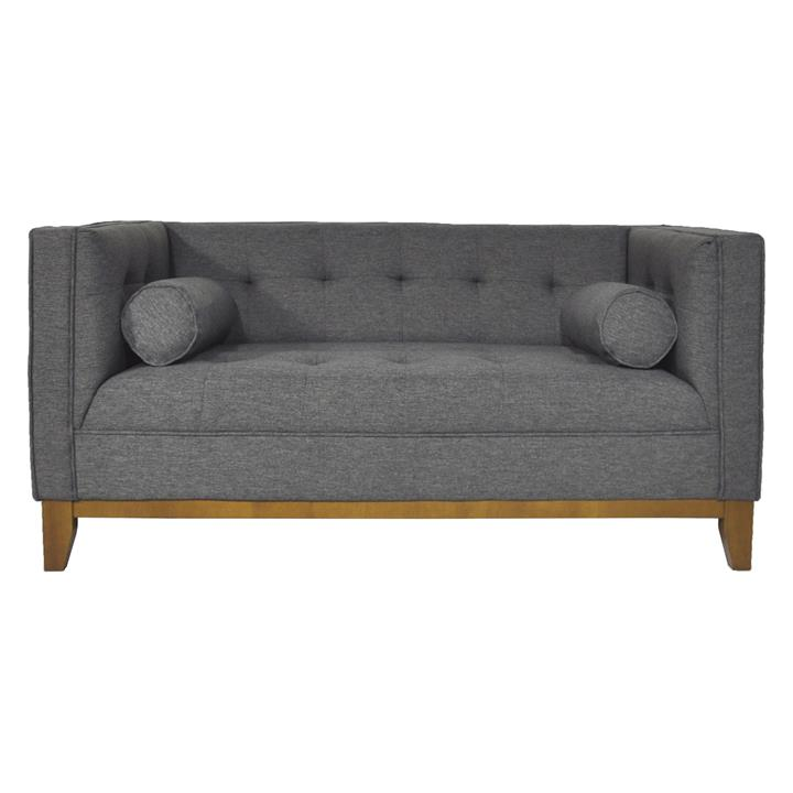Calvin 2 Seater Faux Leather Sofa with Arm Cushions, Spanish Grey