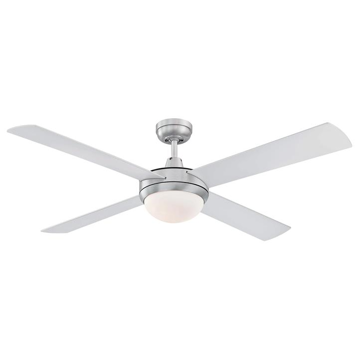 "Alton Ceiling Fan with Light, 130cm/52"", Brushed Steel"