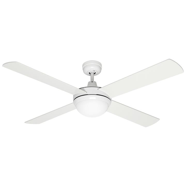 "Alton Ceiling Fan with Light, 130cm/52"", White"