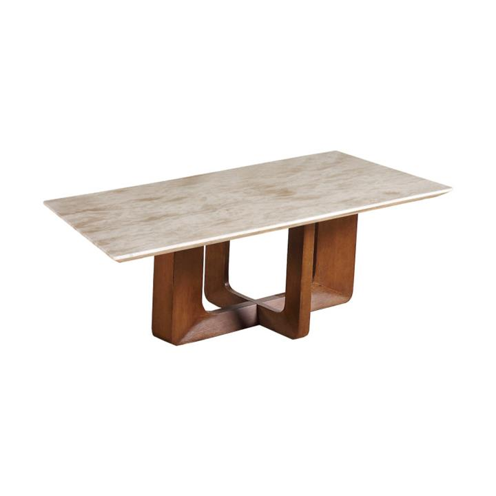 Atholl Marble Topped Timber Coffee Table, 125cm