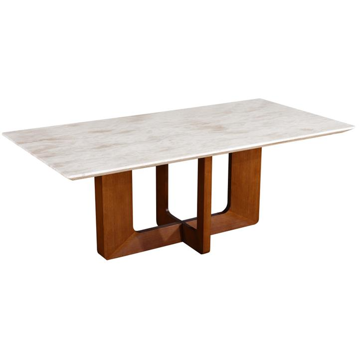 Atholl Marble Topped Timber Dining Table, 180cm