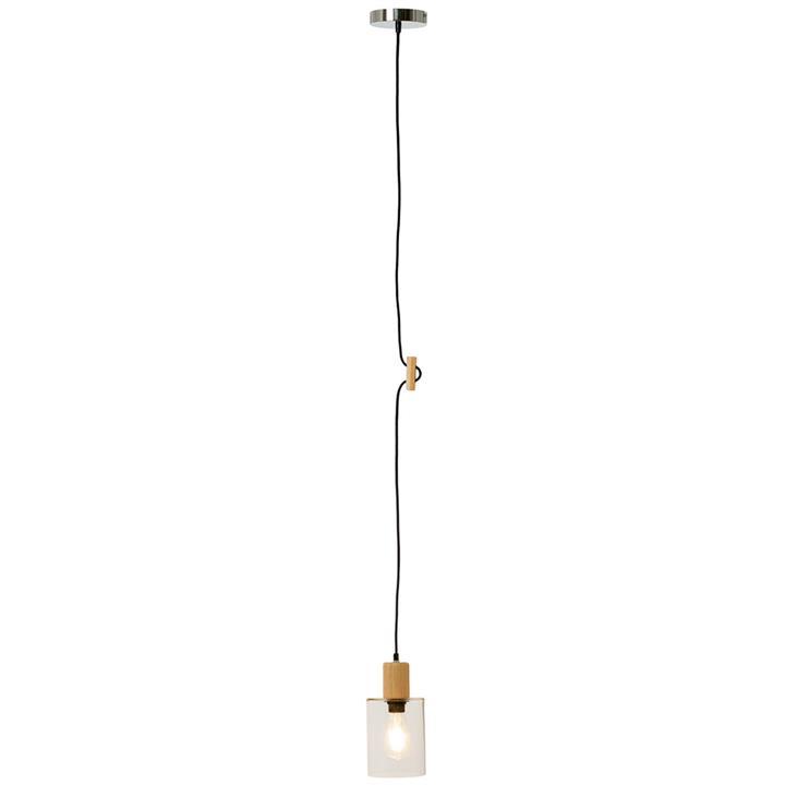 Abbotsford Glass  Wood Pendant Light, Cylinder