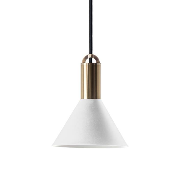 Sync Metal Pendant Light, Cone Shade, Large, White / Brass