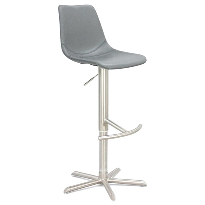 Coval PU Leather Gas Lift Bar Stool, Grey