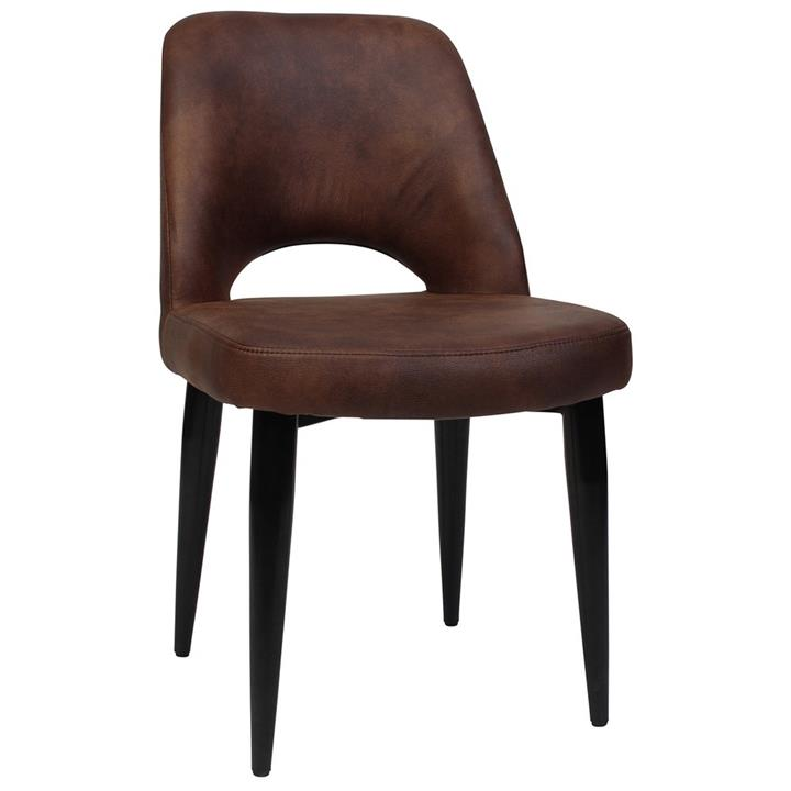 Albury Commercial Grade Eastwood Fabric Dining Chair, Metal Leg, Bison / Black