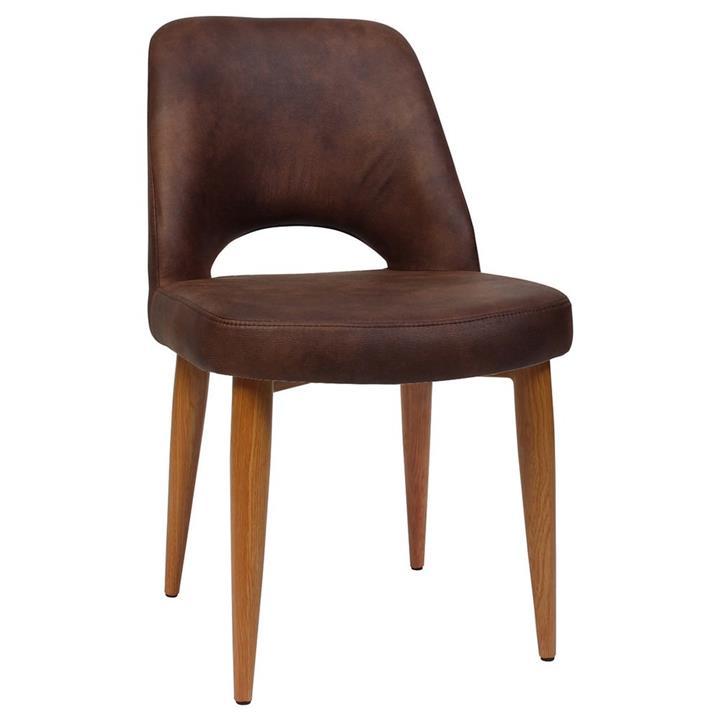 Albury Commercial Grade Eastwood Fabric Dining Chair, Metal Leg, Bison / Light Oak