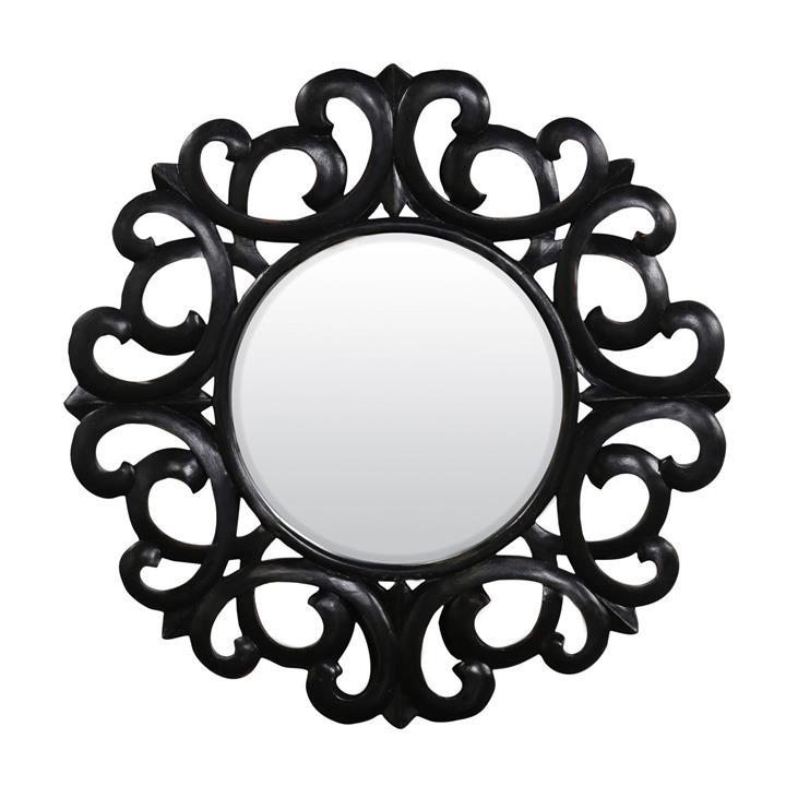 Emeril Manogany Timber Frame Wall Mirror, 107cm, Distressed Black