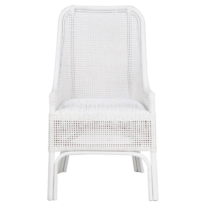 Achille Rattan Side Chair, White