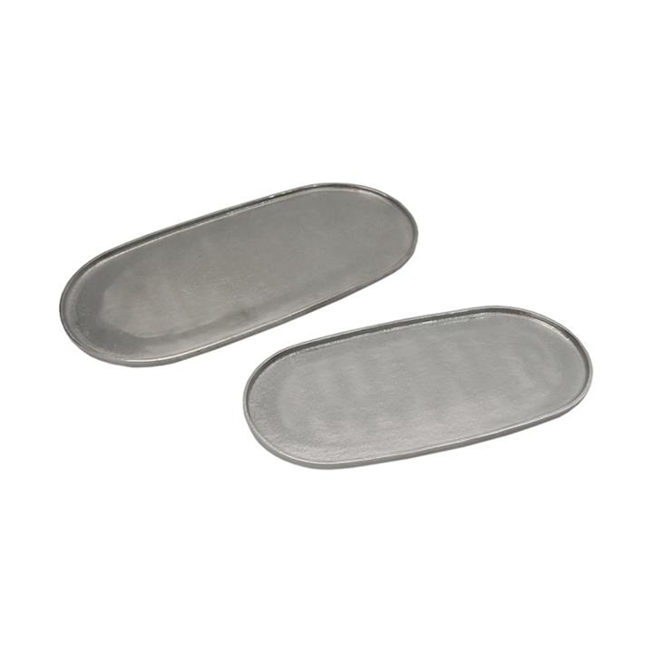 Abi 2 Piece Metal Oval Tray Set, Nickel