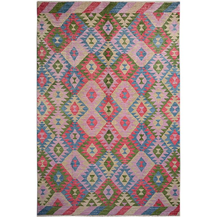 One of A Kind Aqsa Hand Knotted Wool Maimana Kilim Rug, 301x191cm, Watermelon